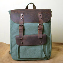 Load image into Gallery viewer, Genuine Leather Canvas Omnisex Backpack-vibes.berlin-lake green-vibes.berlin