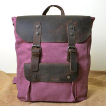Load image into Gallery viewer, Genuine Leather Canvas Omnisex Backpack-vibes.berlin-Lavender-vibes.berlin