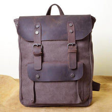 Load image into Gallery viewer, Genuine Leather Canvas Omnisex Backpack-vibes.berlin-Brown-vibes.berlin