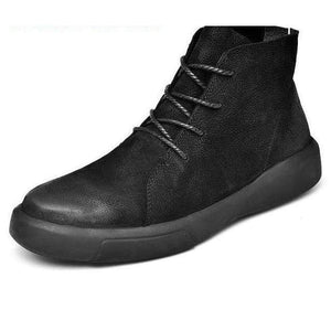 Genuine Leather Athleisure Boots - black / 44