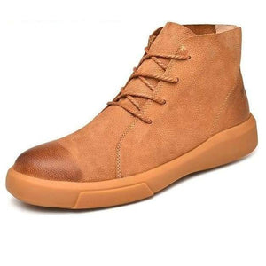 Genuine Leather Athleisure Boots - brown / 44