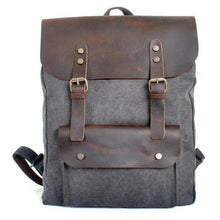 Load image into Gallery viewer, Genuine Leather Canvas Omnisex Backpack-vibes.berlin-Gray-vibes.berlin