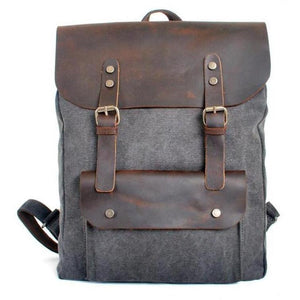 Genuine Leather Canvas Omnisex Backpack-vibes.berlin-Gray-vibes.berlin