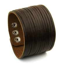 Load image into Gallery viewer, Leather Cuff Stripes Wide Bracelet - vibes.berlin