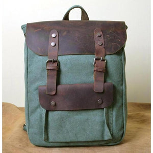 Genuine Leather Canvas Omnisex Backpack