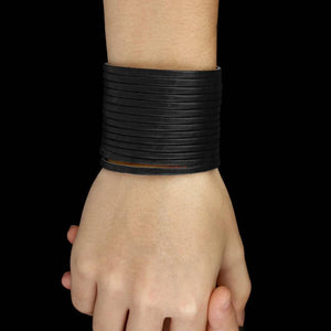 Leather Cuff Stripes Wide Bracelet - vibes.berlin