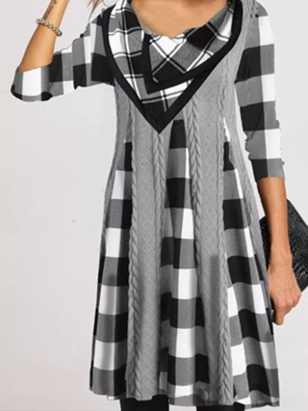 Gris à Carreaux / Plaid Manches Longues Robes
