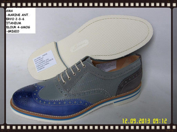 Woody Wilson Shoes Casual Blue Wingtip With Grey