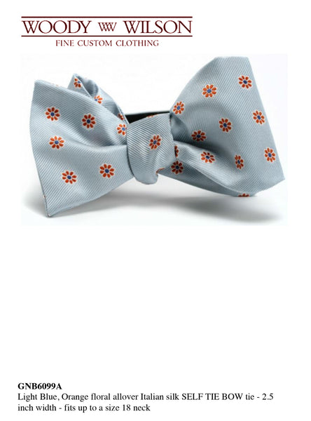 Light Blue-Orange Floral Italian Silk