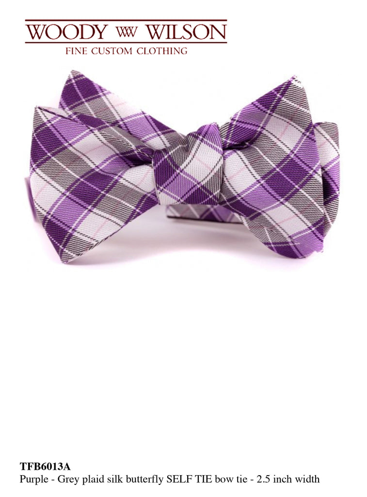 Purple-Grey Plaid Silk Butterfly