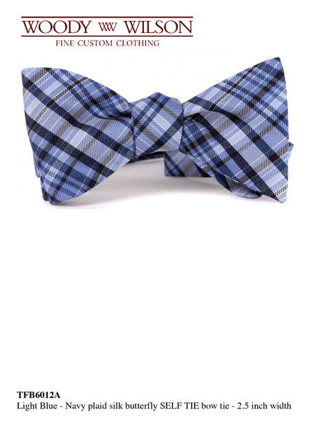 Light Blue-Navy Plaid Silk Butterfly