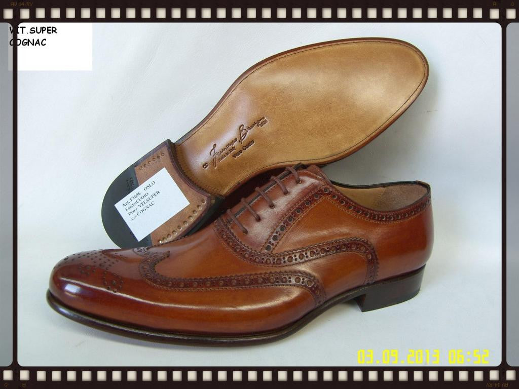 Woody Wilson Shoes/ Cognac Wingtip Lace-up