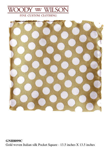 Gold Woven Italian Silk Pocket Square