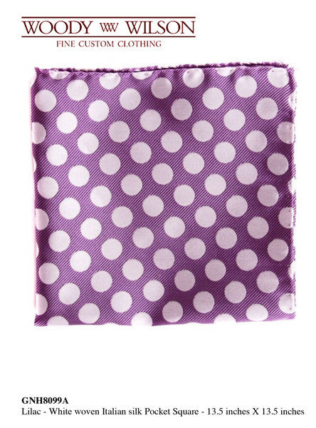 Lilac - White Woven Italian Silk Pocket Square