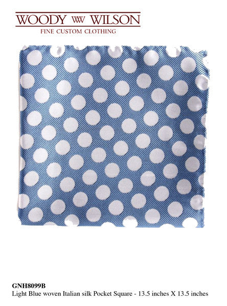 Light Blue Woven Italian Silk Pocket Square
