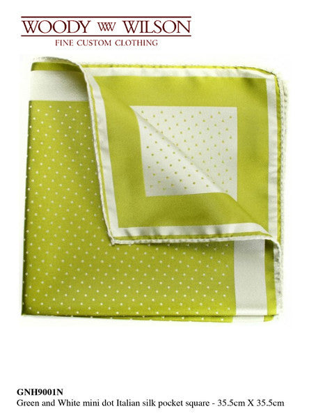 Green And White Mini Dot Italian Silk Pocket Square/ Out of Stock