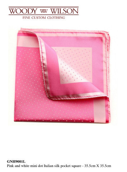 Pink And White Mini Dot Italian Silk Pocket Square