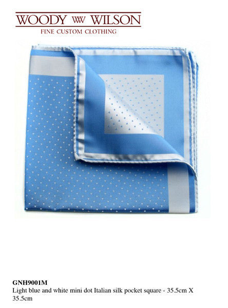 Light Blue And White Mini Dot Italian Silk Pocket Square
