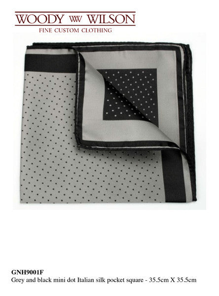 Grey And Black Mini Dot Italian Silk Pocket Square/ Out of Stock