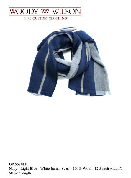 Navy-Light Blue-White Italian Scarf