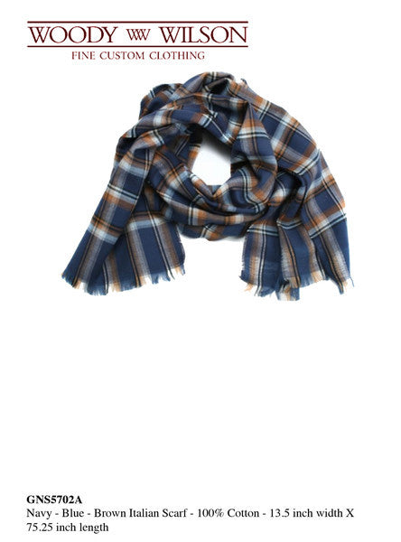 Navy-Blue-Brown Italian Scarf