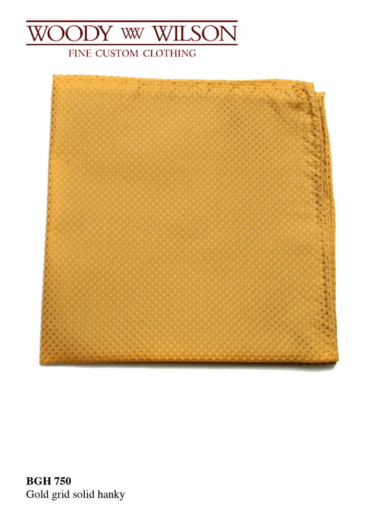 Gold Grid Solid Hanky