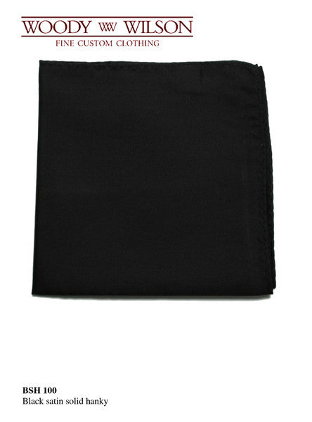 Black Satin Solid Hanky