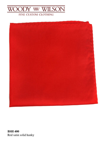 Red Satin Solid Hanky