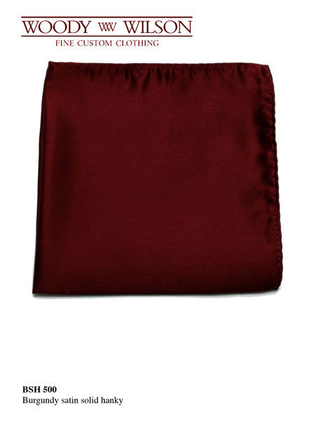 Burgundy Satin Solid Hanky