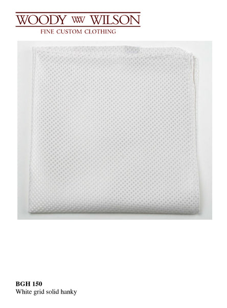 White Grid Solid Hanky