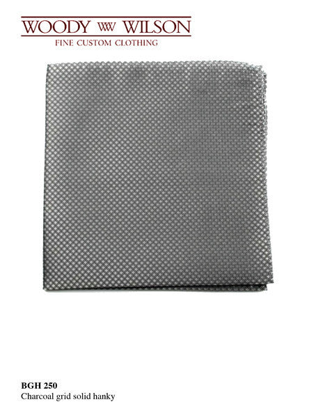 Charcoal Grid Solid Hanky