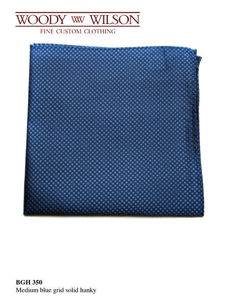 Medium Blue Grid Solid Hanky