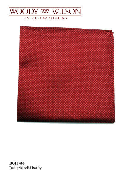 Red Grid Solid Hanky