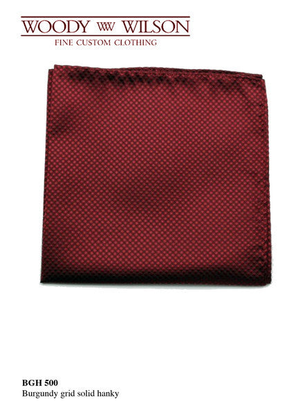 Burgundy Grid Solid Hanky