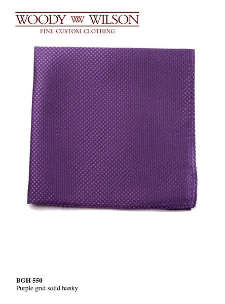 Purple Grid Solid Hanky