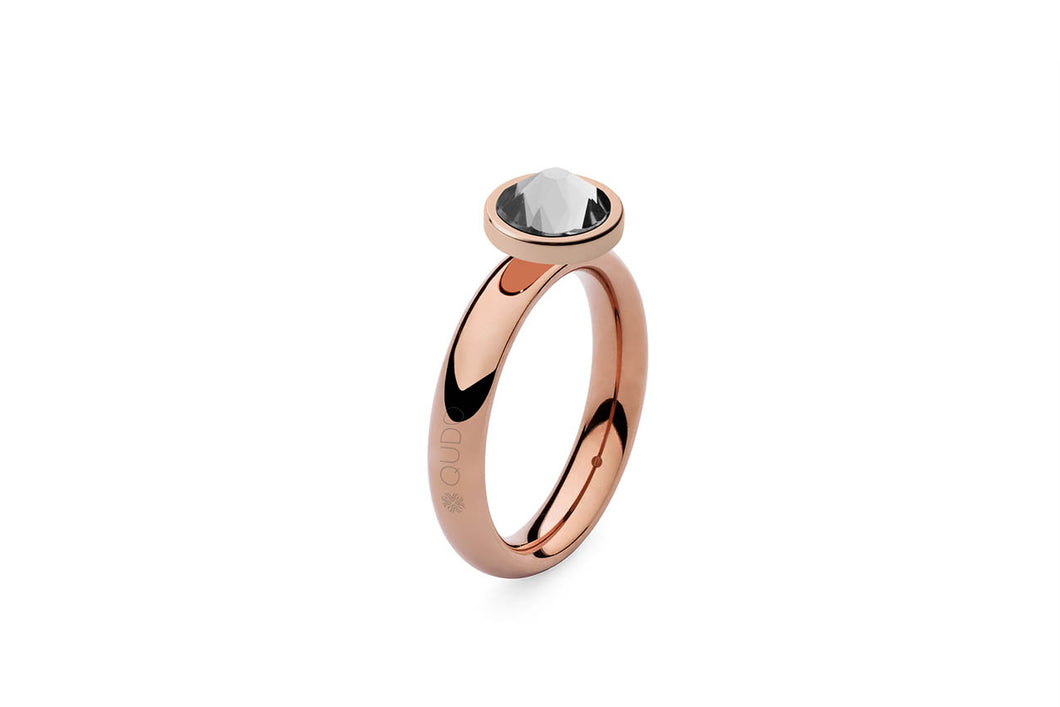 Qudo Rose Gold Sm Ring with Canino Top