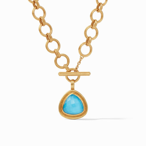 Julie Vos Barcelona Statement Necklace Iridescent Pacific Blue