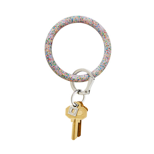 Big O Silicone Key Ring: Rainbow Confetti
