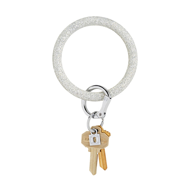 Big O Silicone Key Ring: Silver Confetti