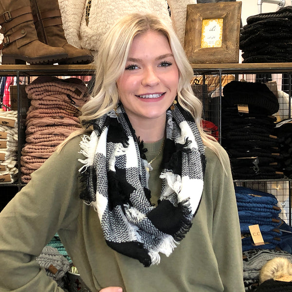 Buffalo Plaid Infinity Scarf Black and White