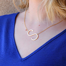 CAI Large Sideways Initial Necklaces Gold