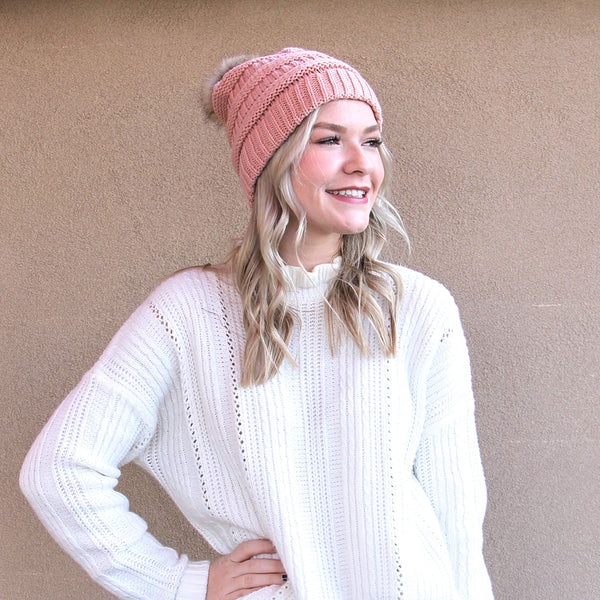 CC Beanie with Fur Pom Pom Light Indie Pink
