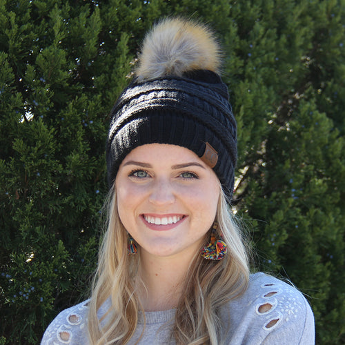 CC Beanie with Fur Pom Pom Black