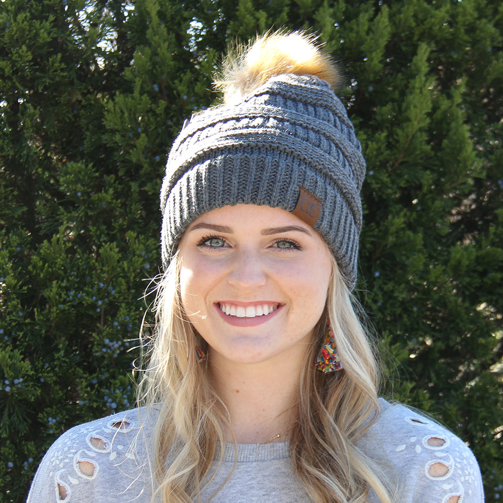 CC Beanie with Fur Pom Pom Gray