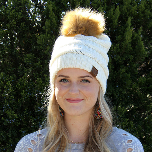 CC Beanie with Fur Pom Pom Ivory