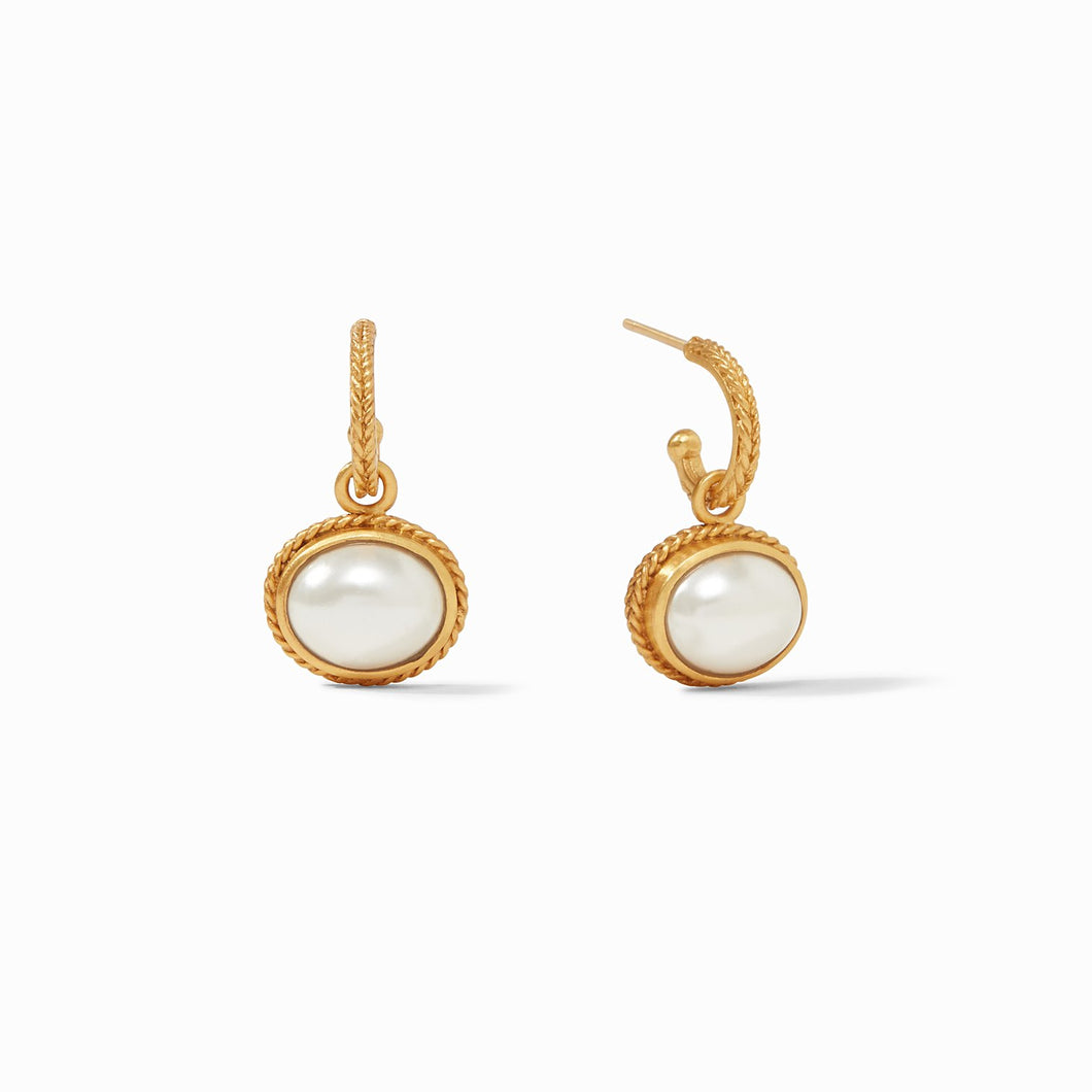 Julie Vos Calypso Hoop and Charm Earring Pearl