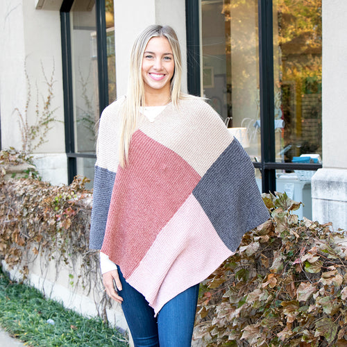 Chenille Color Block Poncho Tan