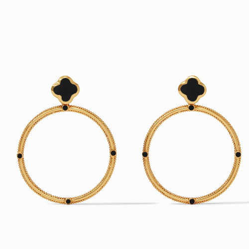 Julie Vos Chloe Statement Earring Obsidian Black