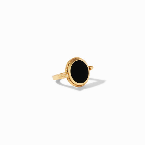Julie Vos Coin Revolving Ring - Obsidian Black