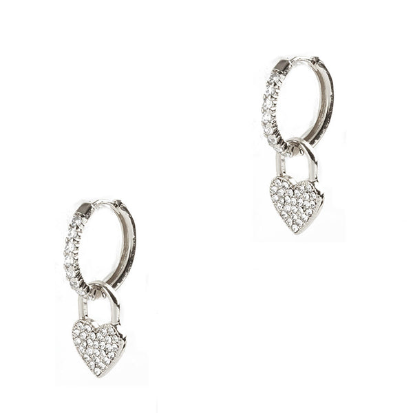 Crystal Heart Huggie Hoops